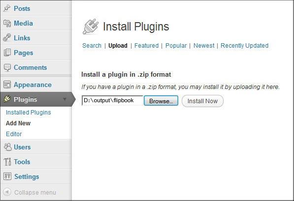 Add WordPress Plugin to Flipbook