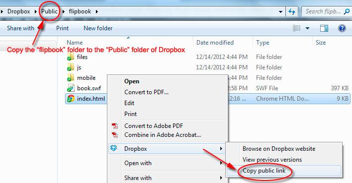 Upload Flipbook with Dropbox
