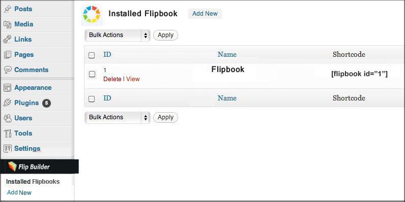 Enable flipbook Plugin