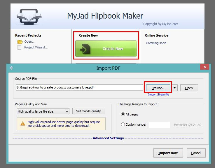 Import and Creat Flipbook
