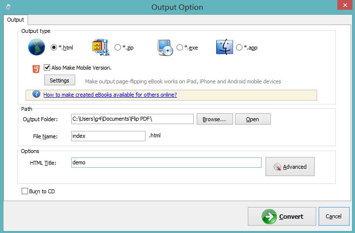 Output Option