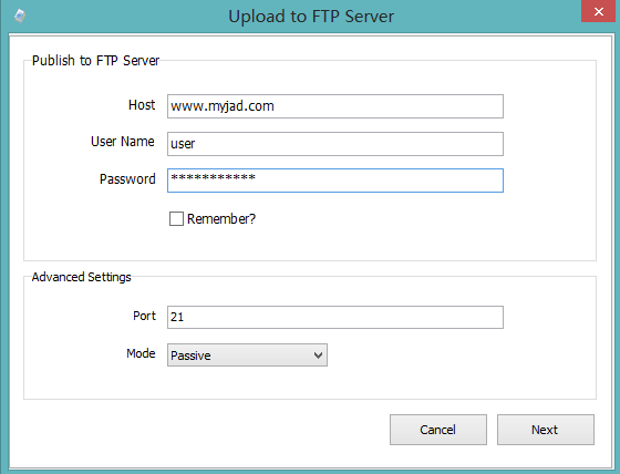 upload to FTP Server