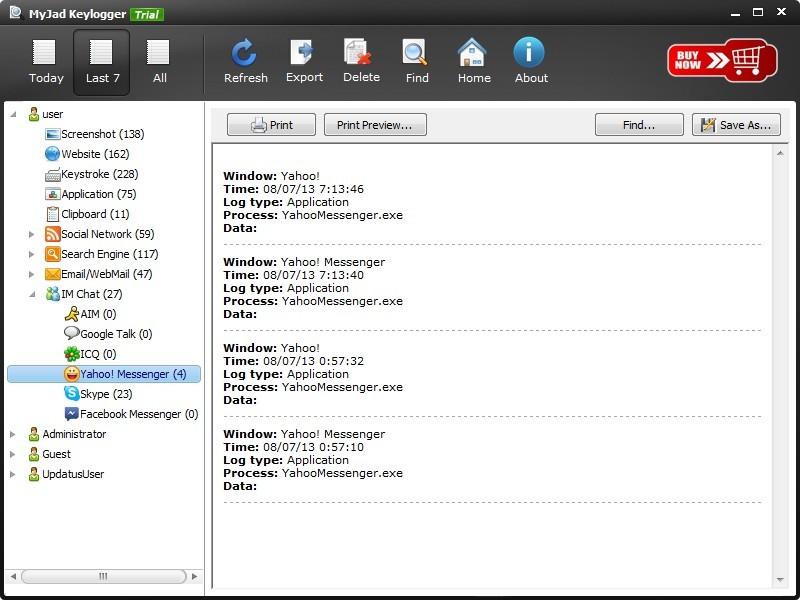 Track Yahoo Messenger Chats