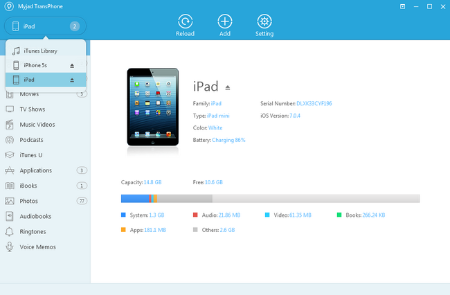 Main Interface of iPad