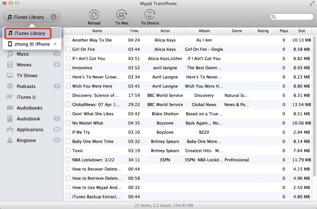Choose All Songs to New Library